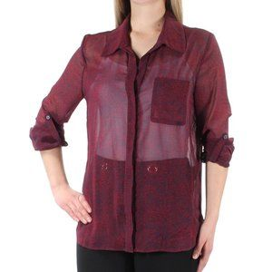 Tommy Hilfiger Roll Tab Sleeve Sheer Blouse